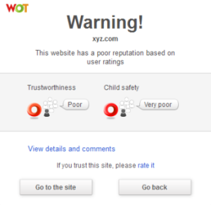 Web Of Ttust warning screen